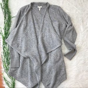 Joie Starley Knit Gray Draped Open Front Cardigan
